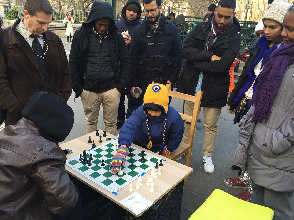 Oliver attracts a crowd of onlookers in New York City's Union Square, as he practices his moves against players many times his size. March, 2017