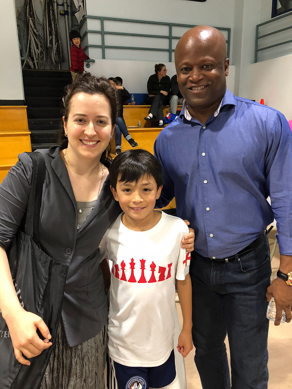 Oliver with GM Maurice Ashley and GM Irina Krush at the Charity Chess Championship in New York City. May, 2018