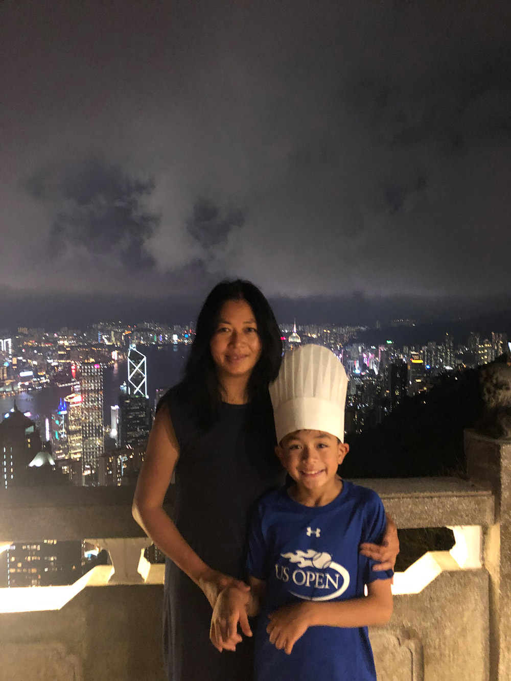 'Chef Oliver' enjoys the spectacular views of Hong Kong from Victoria Peak after an earlier visit to a fabulous dim sum restaurant with his mother, Tiffany. And yes, the food was amazing. August, 2019