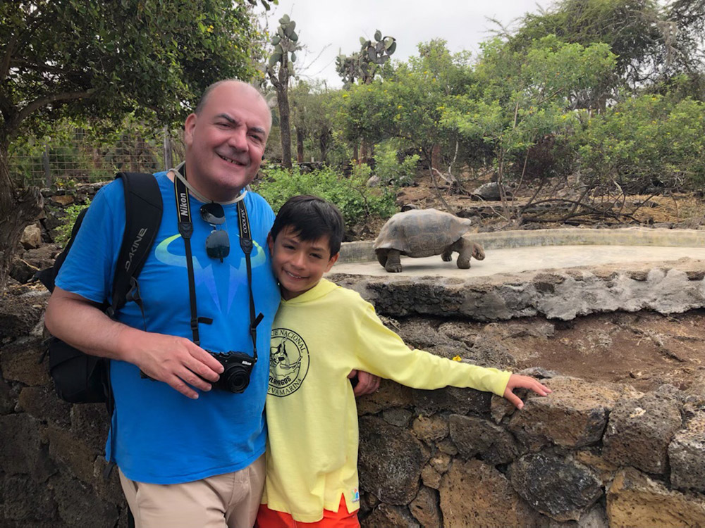 Oliver and his dad Paul at the Charles Darwin Research Station on the Galápagos Islands. July, 2019